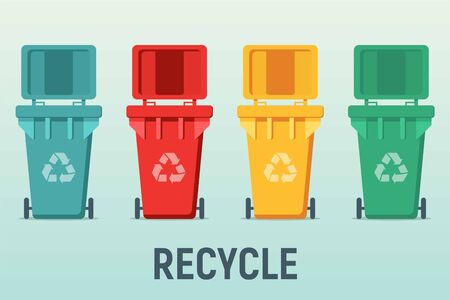 garbage cans with sorted garbage vector icons. Container dustbin for paper, plastic, glass, e-waste in flat style. Separation of waste cans for recycling. Colored waste bins. Waste management concept