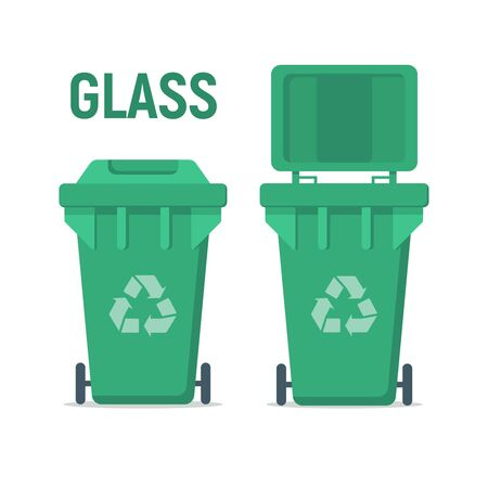 Green recycle garbage bin for glass. For Illustration, banner, Icons and recycle related activities. Separation of waste cans for recycling, reuse, reduce. Waste management concept.