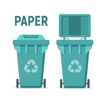Blue recycle garbage bin for paper. For Illustration, banner, Icons and recycle related activities. Separation of waste cans for recycling, reuse, reduce. Waste management concept.