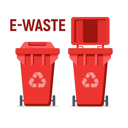 Red recycle garbage bin for e-waste. For Illustration, banner, Icons and recycle related activities. Separation of waste cans for recycling, reuse, reduce. Waste management concept.