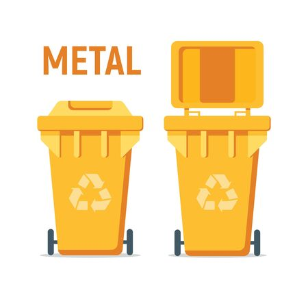 Yellow recycle garbage bin for metal. For Illustration, banner, Icons and recycle related activities. Separation of waste cans for recycling, reuse, reduce. Waste management concept.