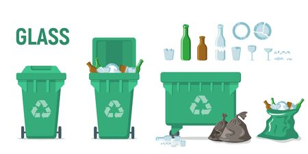Green recycle garbage bin for glass set. For banner, flyer. Separation of waste cans for recycling, reuse, reduce. Throw away the glass in correct trash can. Bottles, plates, glassful, splinters Иллюстрация