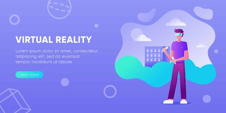 Man wearing virtual reality glasses, Innovation play device headset. Virtual travel route. Guy in helmet immersing in vr world holding motion controllers vector illustration. For banner, landing page