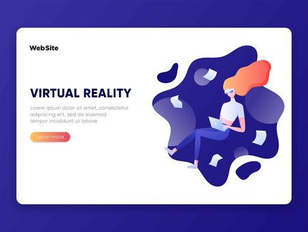 Young woman with VR headset in space. Virtual reality for education and games. Flat cartoon vector illustration. Girl flying in cyberspace interacting with imaginary universe. For banner, landing page