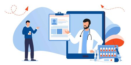 Patient consultation to the doctor via internet. Online medical support. Healthcare services, Ask a doctor. Urologist, Therapist with stethoscope on the screen talking with patient about medical file