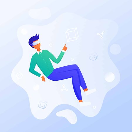 Business man using virtual reality glasses and touching vr interface, data analysis. Into virtual reality world. Future technology. Landing page, banner, infographic template. Guy wearing VR headset Иллюстрация