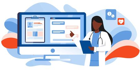Patient consultation to the doctor via computer, phone. Online medical support. Online doctor. Healthcare services, Ask a doctor. Family Therapist with stethoscope. Medical file and chat on screen Иллюстрация