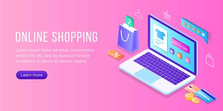 Online shopping on laptop, transactions on the computer screen. Isometric flat design concept with computer, cards, icons,shopping bags, box, sale, e-commerce. Landing page and banner template