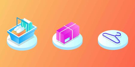 Online Mobile shopping elements isometric isolated icon set. Can use for web banner, infographics, hero images. Phone, cart, money, box, bag, clothes, credit card, sale, fast delivery, coupon discount
