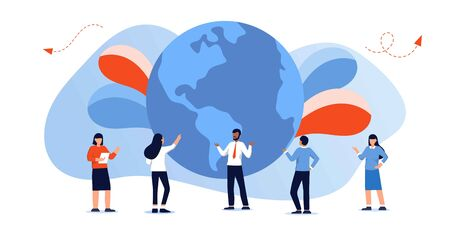 Vector cartoon style illustration of World Environment Day template. Planet Earth with people standing around. Save the planet, go green, ecology problems, volunteers talking Иллюстрация