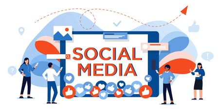 Social media concept banner. People posting and sharing photos, post in social networks. Leave like and comments. Communication with friends via internet. template for digital marketing, infographic