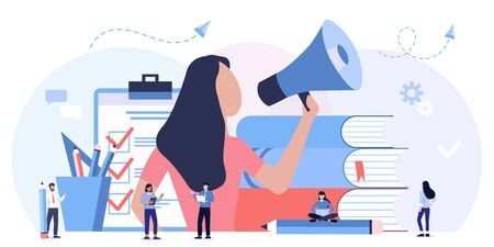 Online learning, choice of courses, exam preparation, home schooling. Education, training courses and tutorials. Online podcast course. mouthpiece, promotion, advertising, call through horn Illustration