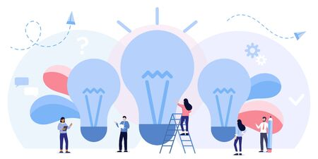 Team work business mechanism, Searching for new ideas solutions, strategy analysis, communication. leadership, direction to a successful path,career planning, career development, brainstorming Illusztráció