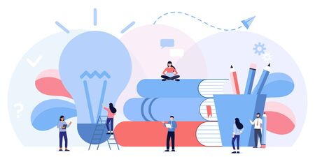 Online learning, choice of language courses, exam preparation, home schooling. Education, training courses and tutorials. Distance studying or e-learning. Flat illustration. Searching for new ideas Ilustração
