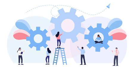 Team work business mechanism, gears, people are engaged in business promotion, strategy analysis, communication. Иллюстрация