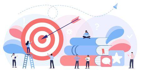 Biznesmeni pracujący, duży cel ze strzałką. Marketing wewnętrzny, promocja celów firmy, koncepcja zaangażowania pracowników. Ilustracje wektorowe
