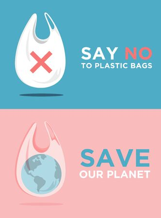 Say no to plastic bags. Ecology conversation. Flat editable vector illustration. Go green concept.Go to zero waste banner. Planet Earth in the White polythene bag on background