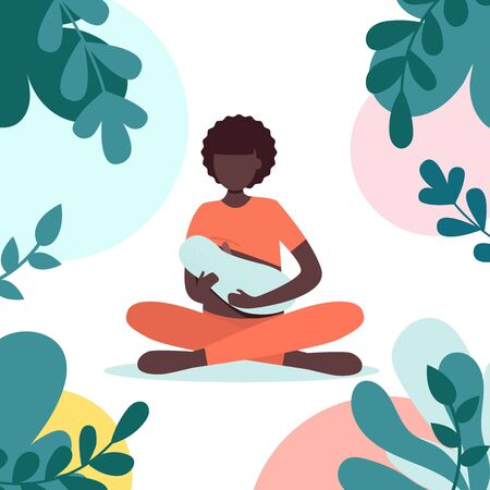 Afro woman breastfeeding her newborn baby in lotus pose in park. Lactation. Breast feeding week banner, happy mother day clip art. Child drinks milk from the female breast. Yoga mom, meditation