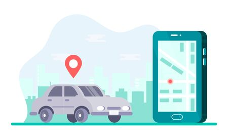 Car sharing service app advertising web page template. smartphone screen with city map, grey car and location pin. Smart city transportation. Online car service. For banner, poster, web, flyer