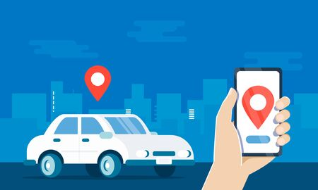 Carsharing service cartoon vector illustration. Urban city landscape, geolocation mark, car and smartphone . Application with Choice of Different Vehicles. Hand Holding mobile Phone with app on screen
