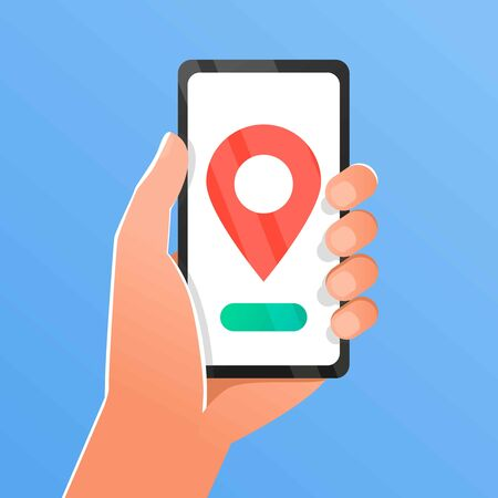 Hand holds smartphone with city map gps navigator on smartphone screen. Mobile navigation concept.gps navigator city map and pin pointer, roadmap direction, idea of quest game route, found location Illusztráció