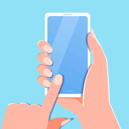 Woman Hand holding white smartphone, touching blank blue screen. Using mobile smart phone, flat design concept. Empty screen, mock up. Mobile phone in hand. Banner, flyer, web template Иллюстрация