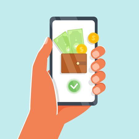 Online-Geld, mobile Zahlungen für Web, Banner, Hand halten Smartphone, Finger-Touchscreen. Konto für mobile Geldbörse. Vector Illustration Mobile Banking, E-Payment, Cashback, Kryptowährung, Transaktionen Vektorgrafik