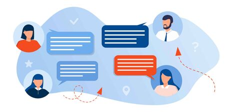 business people discussing in social network, news, chat with dialogue speech bubbles. Talking characters in formal clothes mobile messenger for texting and leaving comments in social media. Ilustração