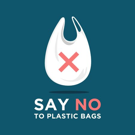 Say no to plastic bags. Ecology conversation. Flat editable vector illustration. Go green concept.Go to zero waste. White polythene bag on background