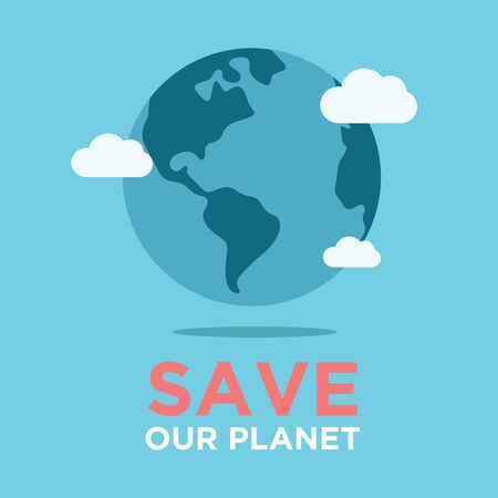 Caring for the planet Earth. Ecology. Save the planet. use for postcards, cards,banners. little men prepare for the day of the Earth, save the planet, save energy, the concept of the Earth day Иллюстрация