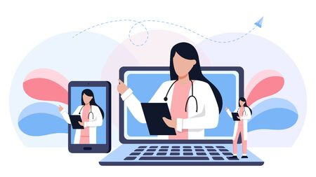 Online medical consultation and support set. Online doctor. Healthcare services, Ask a doctor. Family female doctor, gynecologist with stethoscope on the laptop and phone screen. Full length of doctor