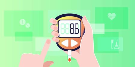 Glucometer web banner, flyer, post. Checking blood sugar level at home and test stripe. Diabetes concept with glucose monitor. Control and diagnostics Insulin problem awareness. Flat vector Illustration