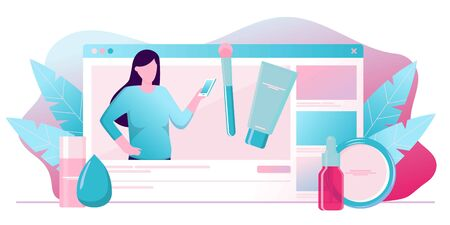 Girl recording cosmetics production review, streaming live, video content creation. Beauty fashion blogger, online beauty consultant blog, makeup and skincare tips. Vector flat concept illustration. Illustration