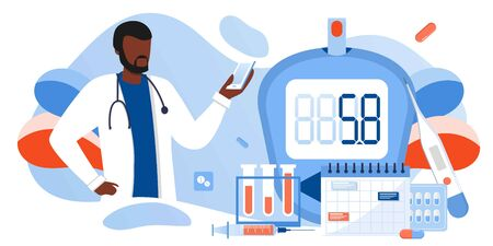 Medicine diabetes type 2 concept. Glucometer for measuring sugar level. Blood glucose meter, pills, syringe and vial, insulin production. Doctor with laboratory test equipment. Vector banner template Vektorové ilustrace