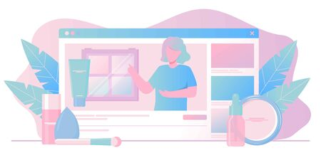 Girl recording cosmetics production review, streaming live, video content creation. Beauty fashion blogger, online beauty consultant blog, makeup and skincare tips. Vector flat concept illustration.
