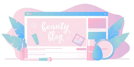 Girl recording cosmetics production review, streaming live, video content creation. Beauty fashion blogger, online beauty consultant blog, makeup and skincare tips. Vector flat concept illustration. Illusztráció