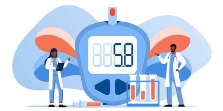Medicina diabete di tipo 2 concetto. Glucometro per misurare il livello di zucchero. Misuratore di glucosio nel sangue, pillole, siringa e fiala, produzione di insulina. Medico con apparecchiature per test di laboratorio. Modello di banner vettoriale