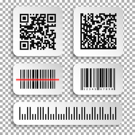 Set of realistic barcode and qr code black icon. Barcode label set sticker. Vector illustration isolated on transparent background.