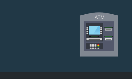 Flat design of ATM machine on wall. Using automat terminal. Vector illustration. Isolated.