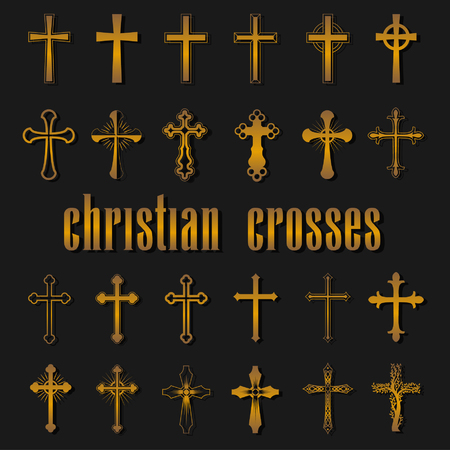 Set of different isolated christian crosses of religion. Gold crosses and divine symbols on black background. Vector illustration