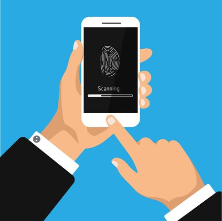 Hand holding smartphone with scanning fingerprint on screen. Concept fingerprint identification or authentication. Vector illustration Ilustração