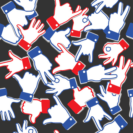 Seamless vector pattern with different hand gestures. Non-verbal or manual communication, emotional expressions, body language. Design for web page backgrounds, fabric, wallpaper, textile and decor Illustration