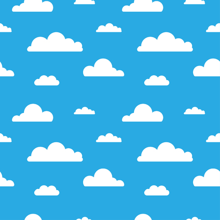 Seamless vector pattern with clouds on blue background. Cartoon modern white clouds in a flat design isolated. Design for web page backgrounds, fabric, wallpaper, textile and decor 向量圖像