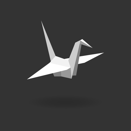 Flat vector paper cranes or origami isolated on dark gray background. Vector illustration.