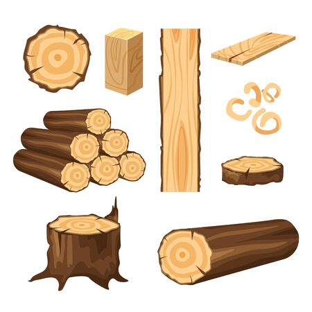 Vector set of materials for wood industry. Tree trunk, planks isolated on white background. Wood logs for forestry.