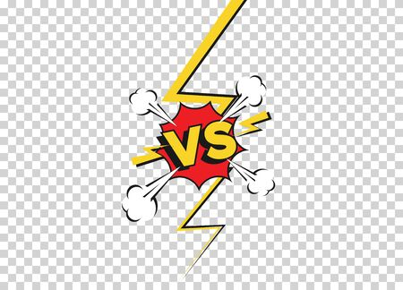 Versus fight backgrounds in flat comics style. Vs battle challenge isolated on transparent background. Vector cartoon comics background. Comic fighting duel with lightning ray border.