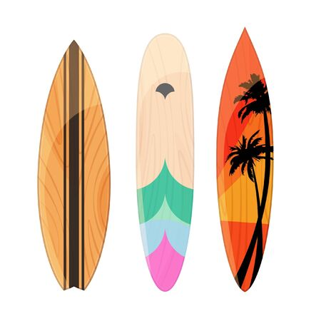 Surfboards types set on gray background. Board for wave riders. Isolated vector illustration.
