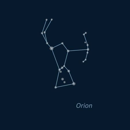 Science astronomy, star chart on deep blue background. Orion constellation. Vector illustration.