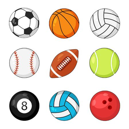 Sports balls icon vector set isolated on white background. Soccer and baseball, football game, rugby and tennis. Çizim