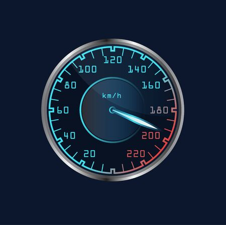 Vector dashboard speedometer isolated. Realistic sensor panel with arrows. Scale of level gasoline, vehicle tachometer, car speedometer. Chrome neon board. Measuring speed illustration.